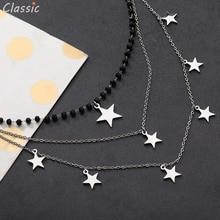 Breloques 3 couches en acier inoxydable collier pour femme couleur argent étoile pendentif perles noires colliers Vintage bijoux accessoires