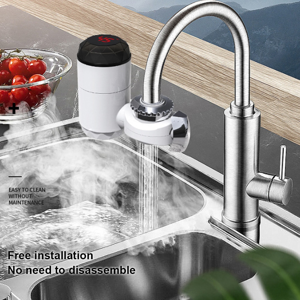 Electric Heating Faucet Instant Water Faucet Electric Hot Water Heater Faucet with LCD Temperature D