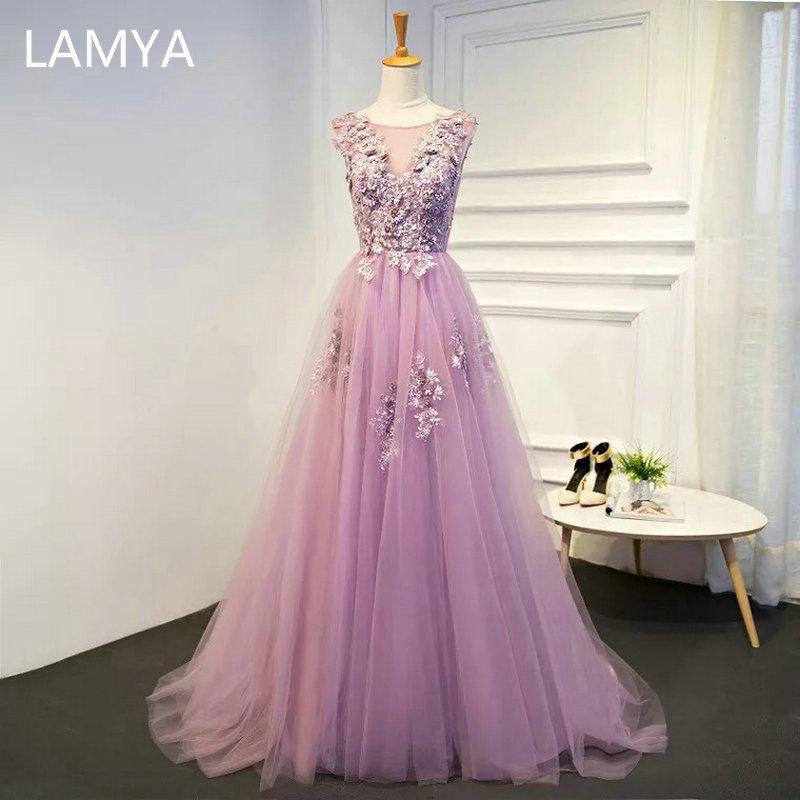 LAMYA nuevo dulce Vestido De Noche púrpura Sexy cuello pico bordado piso-longitud Vestido Formal De graduación apliques Vestido De Noche