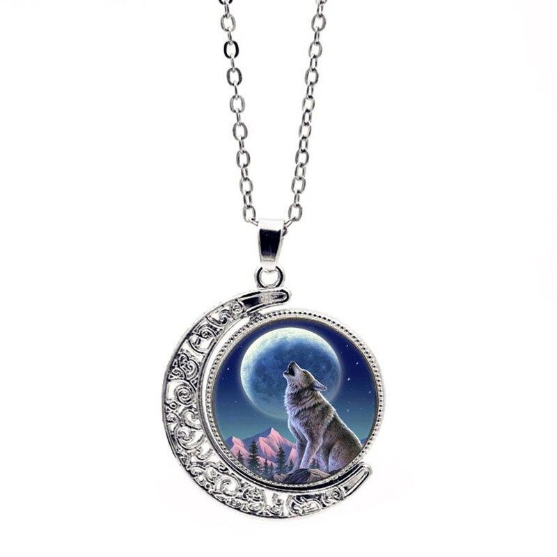 Encanto Lobo silbido mes joyería moda Luna cristal Domo doble lado rotación colgante collar mujeres clavícula cadena Accesorios