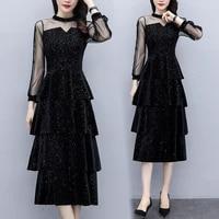 real shot dress women 2021 spring and autumn new net red dress high cold goddess fan temperament velvet sequin cake dress