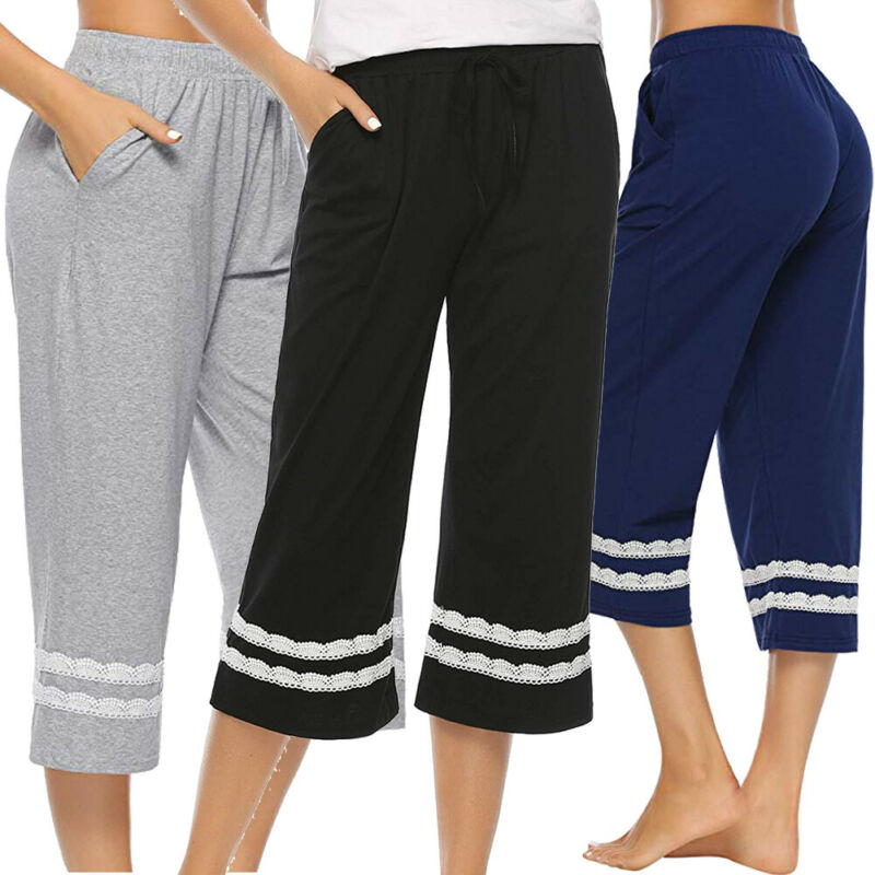 Women's Sleepwear Pajama Cotton Pants Sleep Cropped Lounge Bottoms Elestic Waist Sleep Bottoms Underwear
