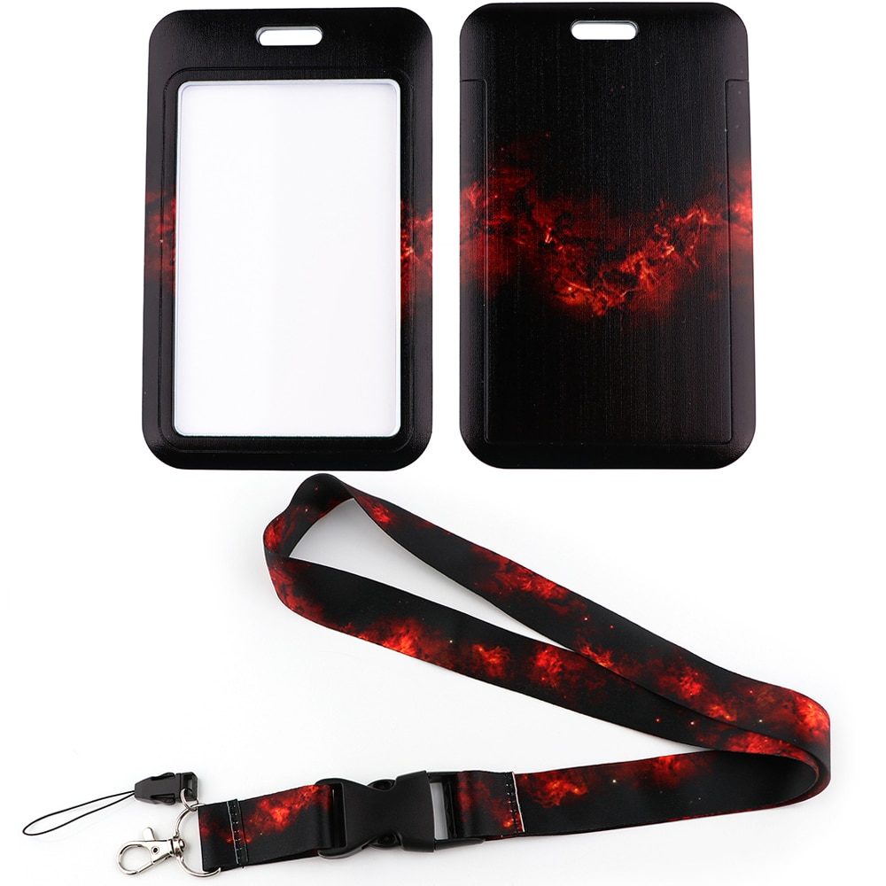 LX847 Red Space Starry Night Lanyard ID Card Badge Holder Ribbons Phone Strap for Pendant USB Keychain Cord Lariat Unique Gifts