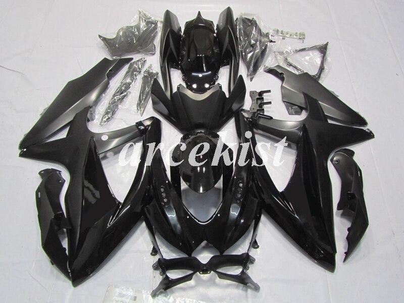 4 regalos ABS carenados Kit de para SUZUKI GSXR600 GSXR750 08 09 10 R600 R750 K8 GSXR 600, 750, 2008, 2009, 2010 negro