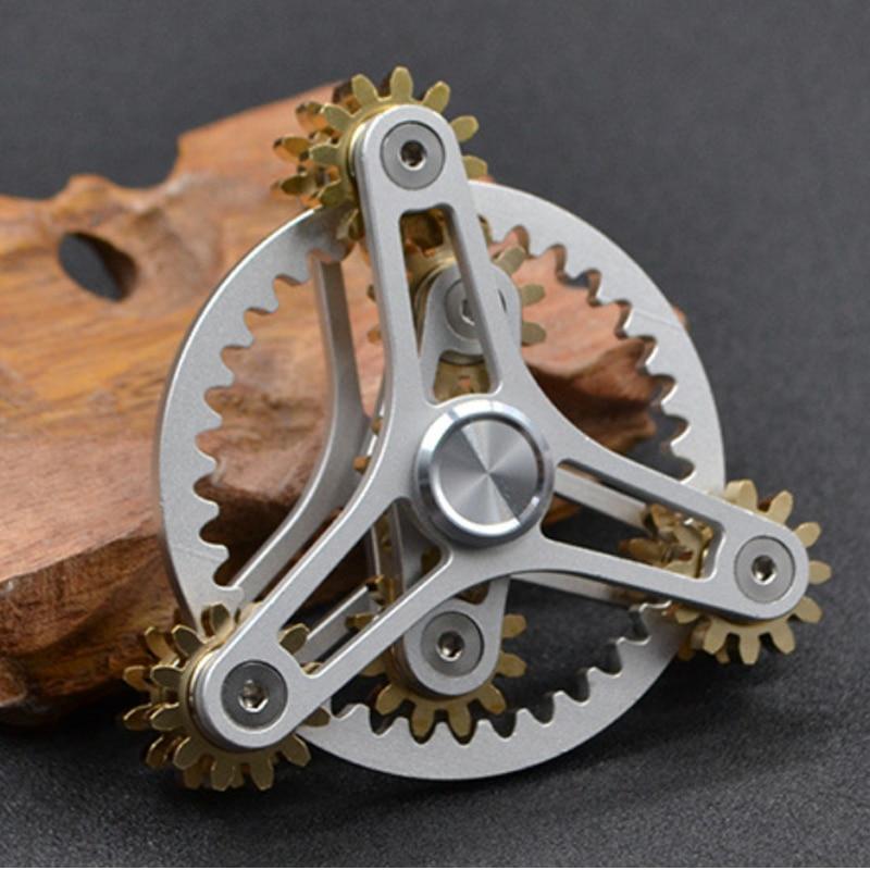 2021Mechanical model silent bearing fingertip gyro brass Rubik's cube gear linkage battle rotation creative children's gift enlarge