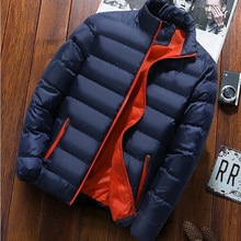 Men's New Warm Thick Jacket Men's Jacket Winter Casual Men's Jacket Coat Solid Color Stand Collar Me