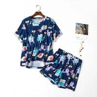 qweek japanese kawaii pajamas suit with shorts for women sleepwear cotton pijamas two piece set summer nightwear pyjamas cute