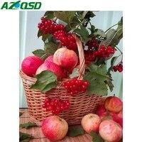 AZQSD     peinture de diamant carre complet  broderie de fruits  strass de pomme  image en point de croix  decoration pour la maison