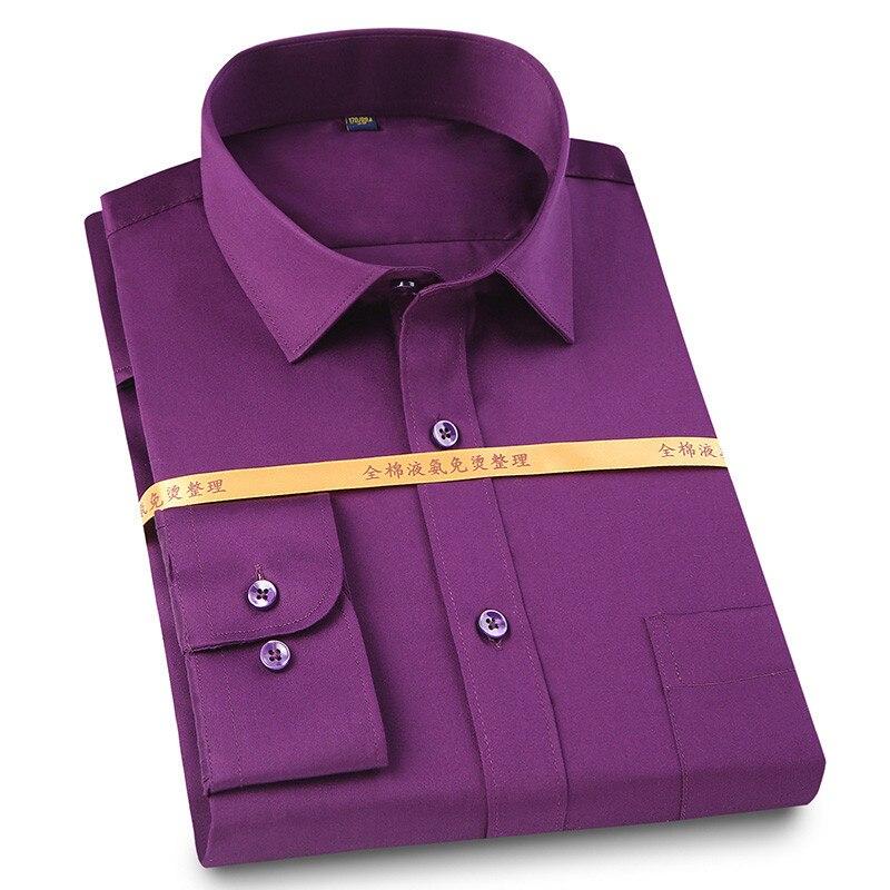 Solide plain 100% baumwolle lange ärmeln männer kleid shirts platz kragen nicht-eisen falten beständig easy care weiche tops für business