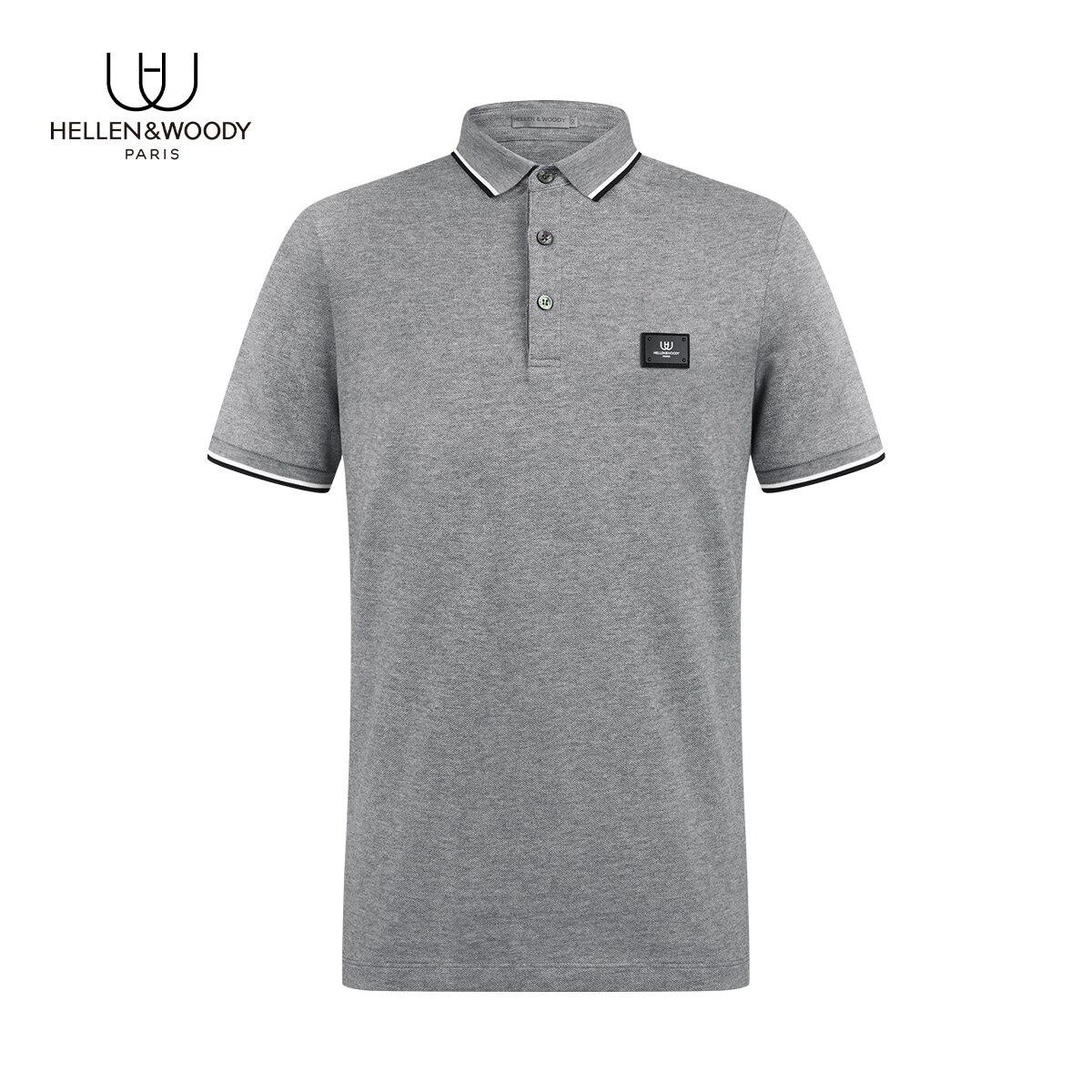 Hellen&Woody 2021 NEW Arrived MENS' Top Slim Fit Business Formal Wear Sheetmetal Brand LOGO Success Boyfriend Style T-Shirt Polo