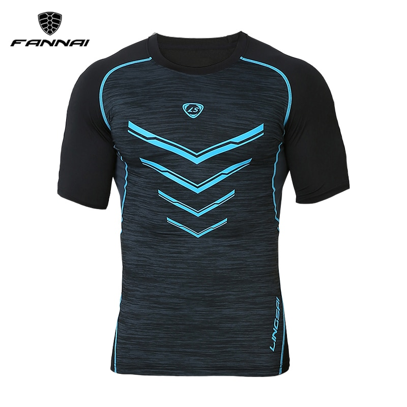 Men's Black Compression Gym Fitness Running T shirts Slim Tops Tees Running short sleeve Quick Dry Fit Sportswear