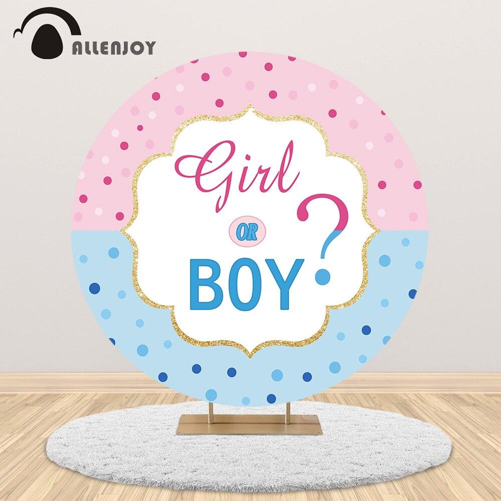 Allenjoy niño o niña género revela fondo de fiesta rosa azul puntos círculo redondo telón de fondo cumpleaños Baby Shower cubierta Decoración