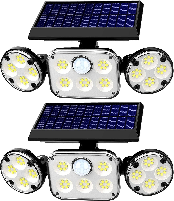 Solar Motion Lights Outdoor, RJFOYB 3 Heads Solar Lights Outdoor, 78 LED Waterproof Flood Lights Outdoor, 270° Adjustable Solar