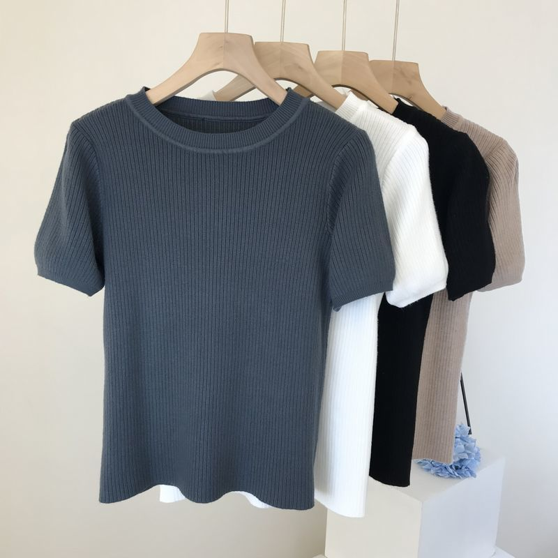 2021 summer round neck pullover sweater women new simple short-sleeved slim sweater T-shirt top  Broadcloth  Tops  Tees new summer women tees ladies simple pullover tops korean solid o neck casual slim knitted short sleeve top