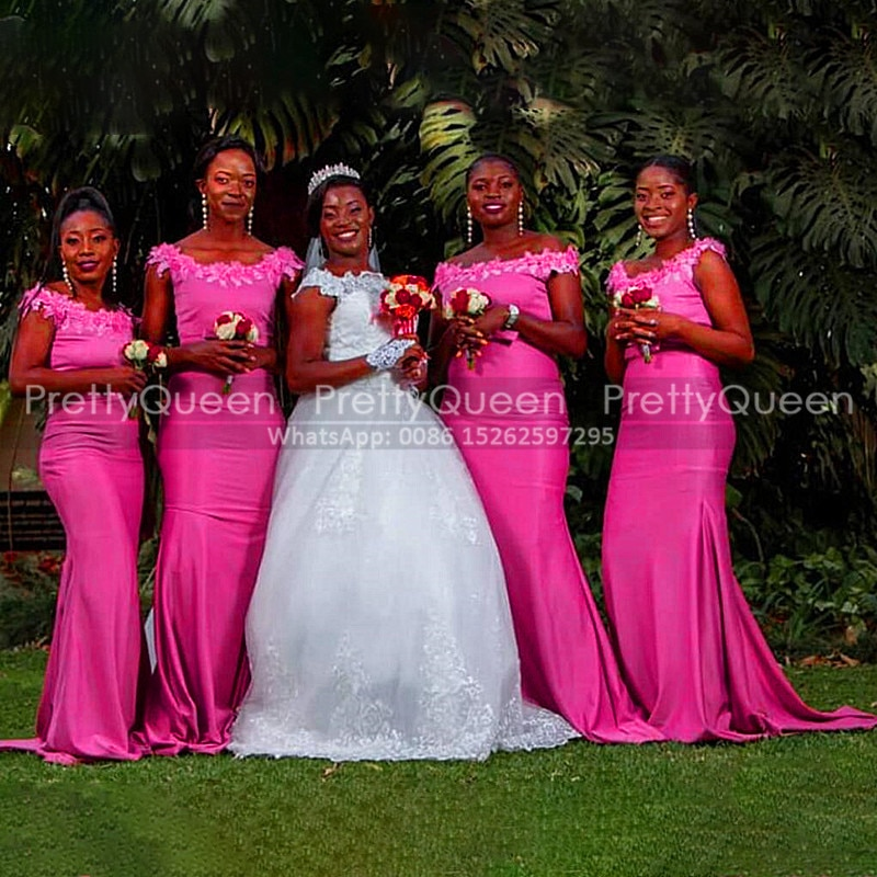 Hot Pink Bridesmaid Dresses With Appliques Beads Boat Neck Mermaid Long Floor Length African Women Party Wedding Guest Dress