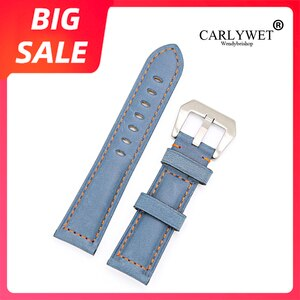 CARLYWET 22 24mm Top Watch Band Silver Brushed Buckle Sky Blue Real Leather Replacement Thick Vintage Wrist For Panerai Luminor