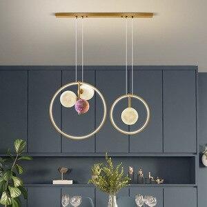 Nordic LED Pendant Light 3D Printing Moon Creative Dining Room Hanging Modern Ball Bar Lighting Bedroom Bedside Decoration Lamp