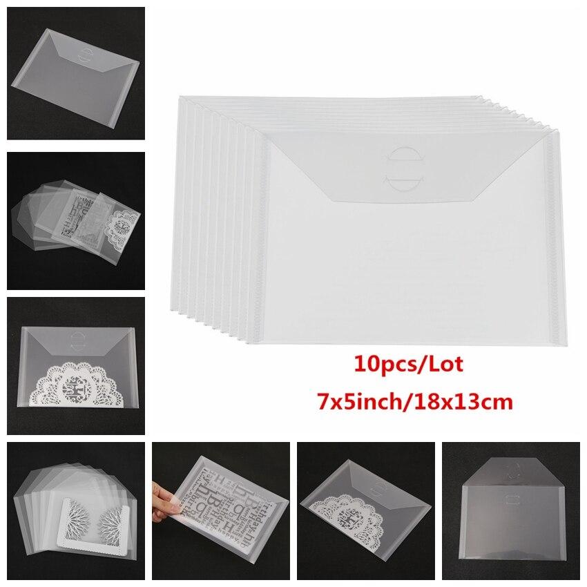 10pcs/Lot PVC Plastic Sheet Large Stamp & Die Storage Pockets for DIY Scrapbooking Shaker Cards Photo Frame Clear Transparent