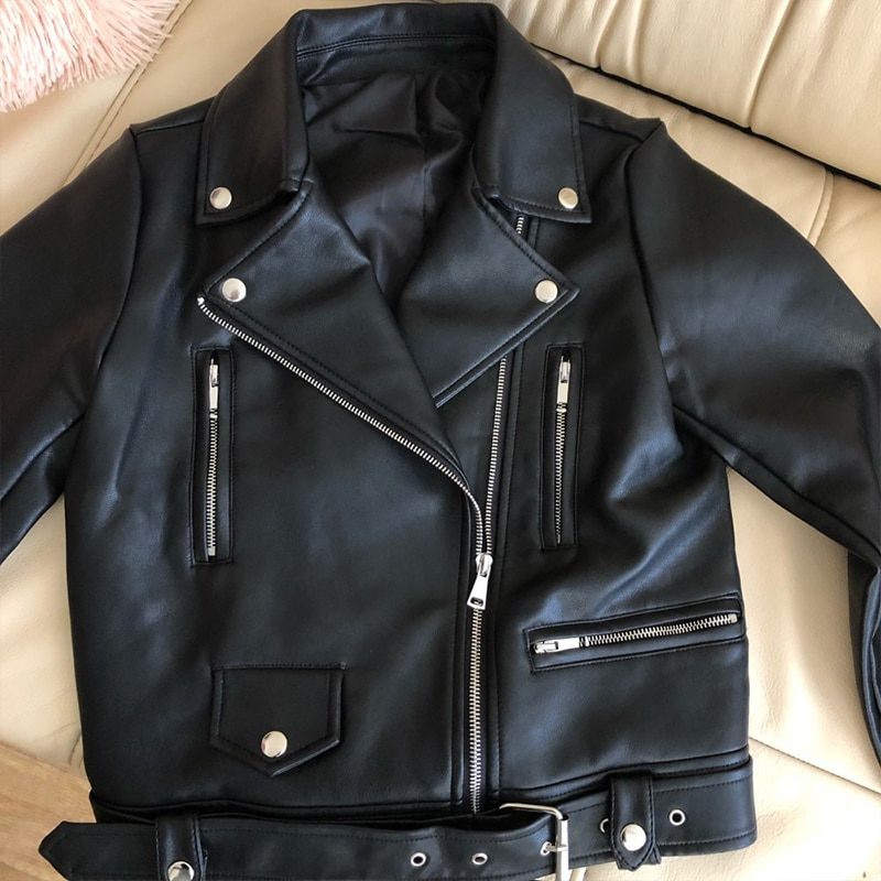 New Women Spring Autumn Black Faux Leather Jackets Zipper Basic Coat Turn-down Collar Motor Biker Jacket With Belt