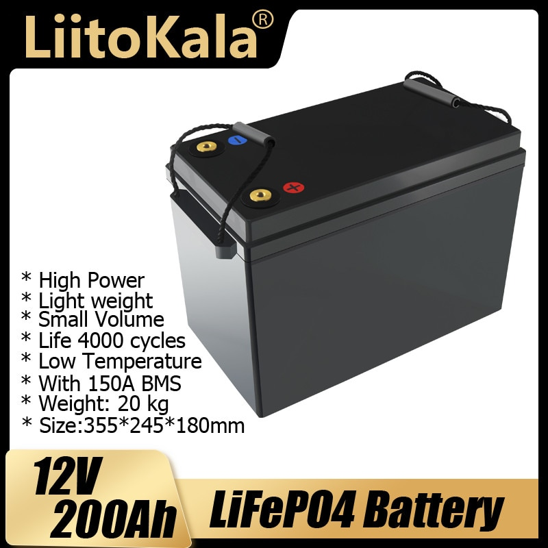LiitoKala 12 فولت 200Ah LiFePO4 بطارية الطاقة 4000 دورات ل 12.8 فولت RV المعسكر عربة جولف على الطرق الوعرة خارج الشبكة الرياح الشمسية