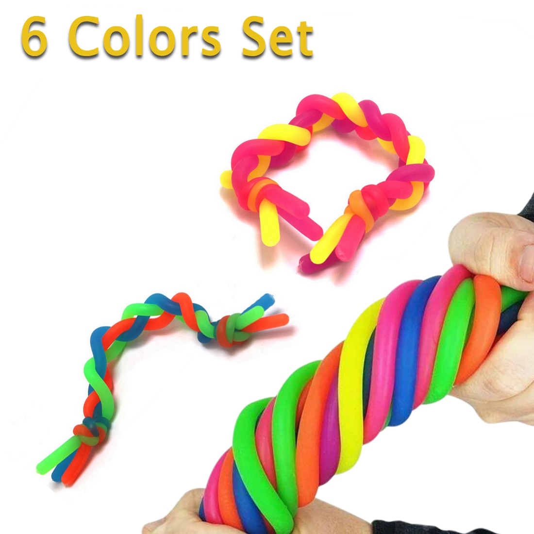 6pcs/lot Soft Rubber Noodle Elastic Rope Antistress Relieve Toys Stretch String Decompression Toy Fidget Relief Stress Vent Toys