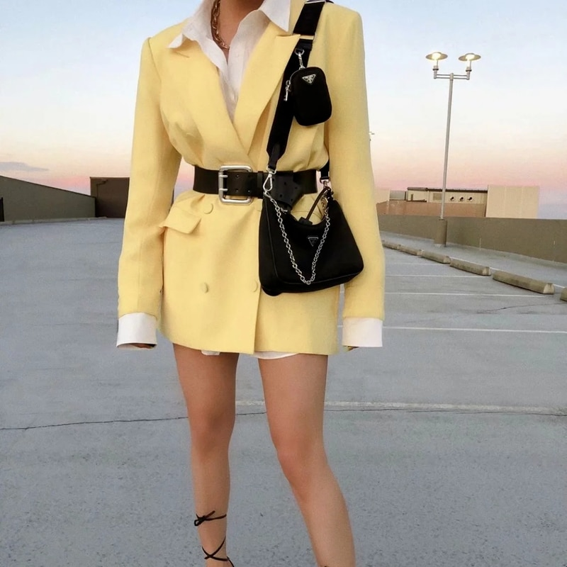Yellow British Style Blazer 2021 Women Solid Colors Double Breasted Casual Office Blazer Suit New Fashion Work Commute Clothing women solid blazer double breasted jacket women casual notched collar blazer office ladies work suit new fashion outerwear