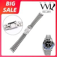 rolamy 20 21mm luxury 316l stainless steel wrist watch band bracelet jubilee with oyster clasp for rolex gmt master ii date just