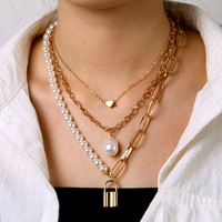 Punk Gold Color Thick Chain Layered Necklace for Women Retro Heart Pearl Lock Multilayer Chain Collar Choker Necklace Jewelry