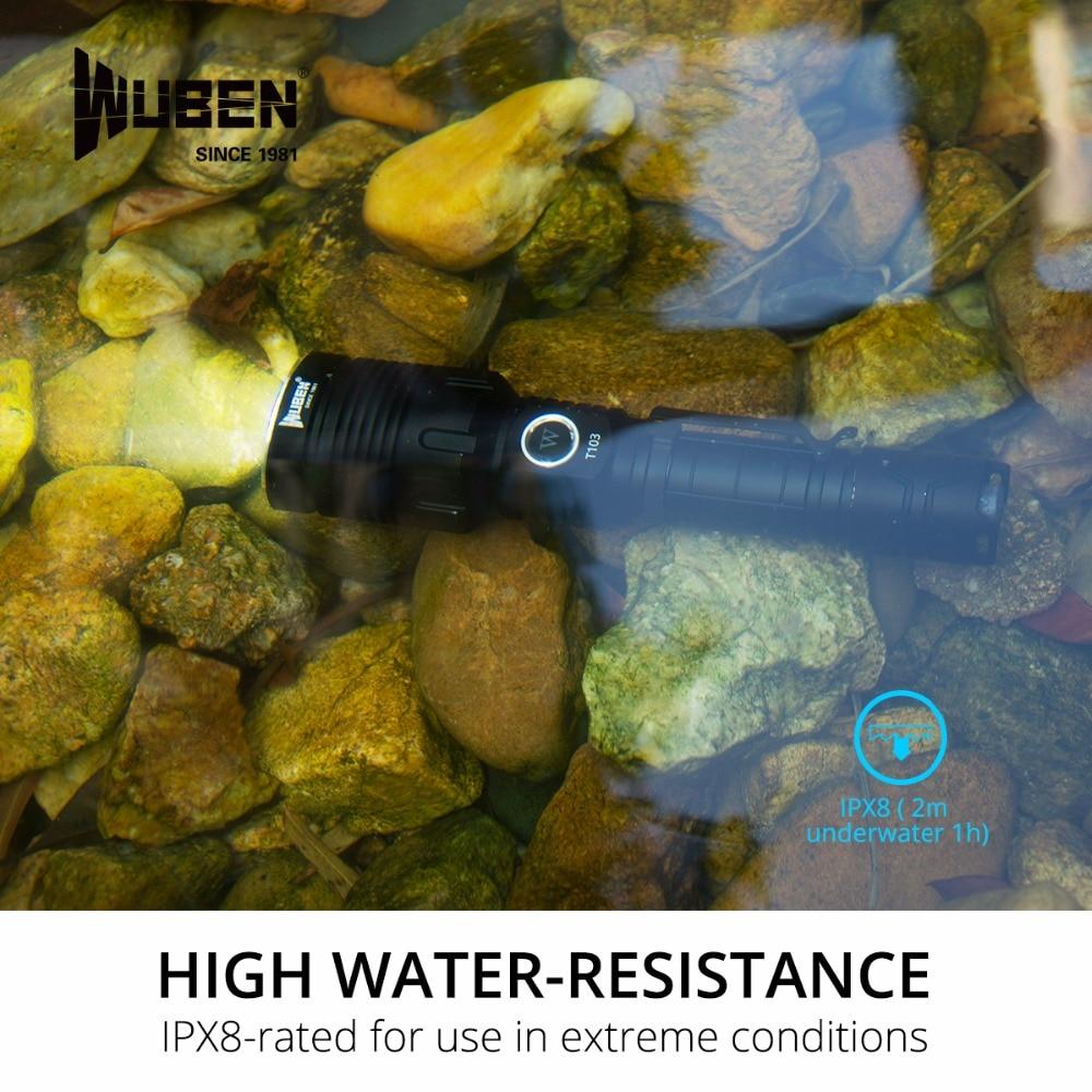 WUBEN T103 Pro 1280 Lumens Flashlight Waterproof Tactical LED Flashlight, Rechargeable CREE XHP35 LED Black enlarge