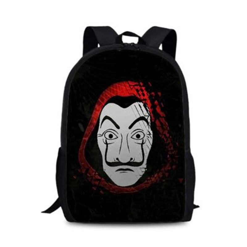 New La casa de papel Boys&Girls Backpack for School 3d Cartoon TV Schoolbag for Teenager Kids Book Bags