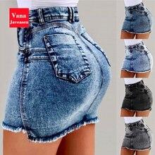 Vana Javeasen Denim jupes femmes conception de poche taille haute Sexy Mini jupe été Streetwear femmes vêtements bureau dames jupe