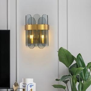 Modern Wall Lamp Glass Led Lighting Sconce Creative Living Room Aisle American Gold Luxury Bedroom Bedside Lampara Decor Light