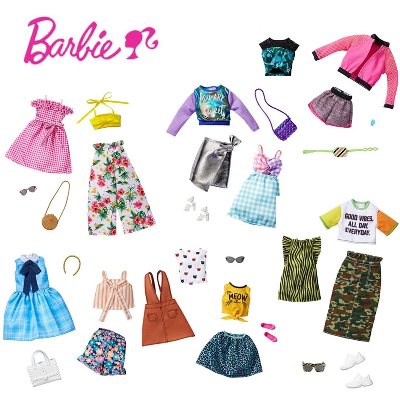 Original Barbie Doll's Outfit Dresses Accessories Shoes Sets Clothes Changing Top Brand Toys for Gir