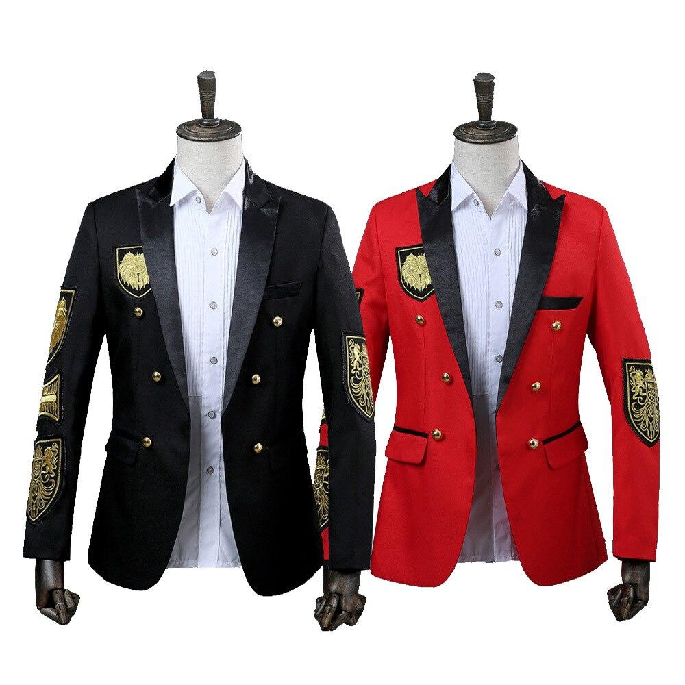 2020 homens blazer medalha militar solto casaco palco cantor terno jaqueta desempenho anual preto vermelho traje homme