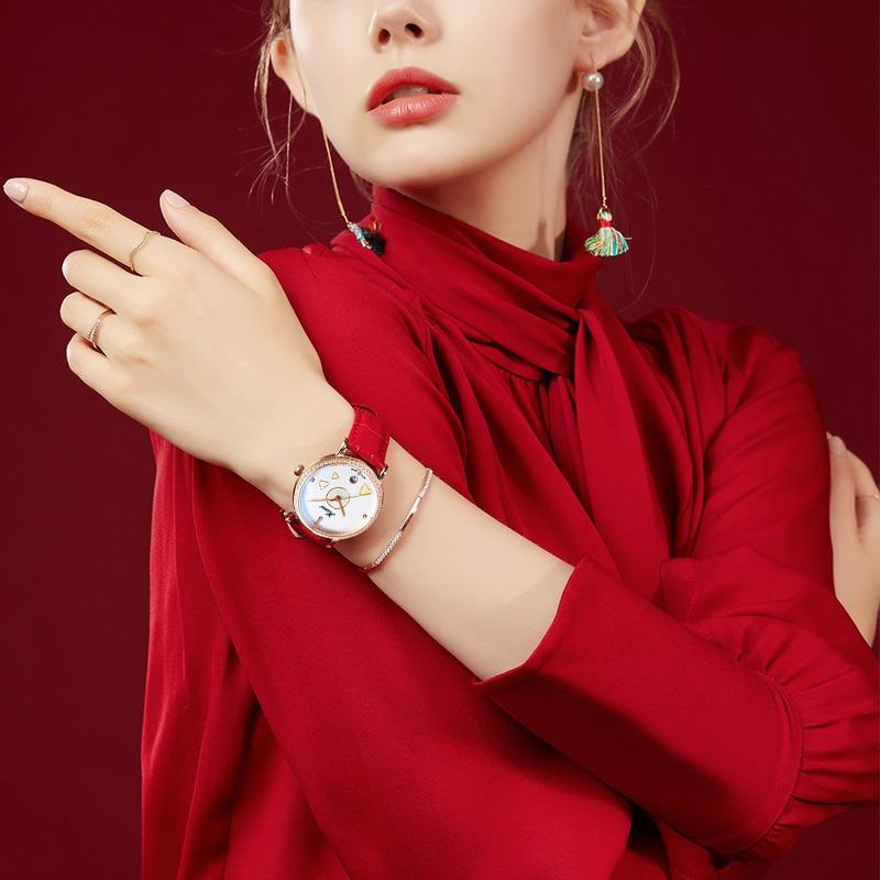 2020 Fashion Women Watch Diamond Waterproof Automatic Mechanical Ladies Watches With Red Leather Seagull Movement Gift enlarge