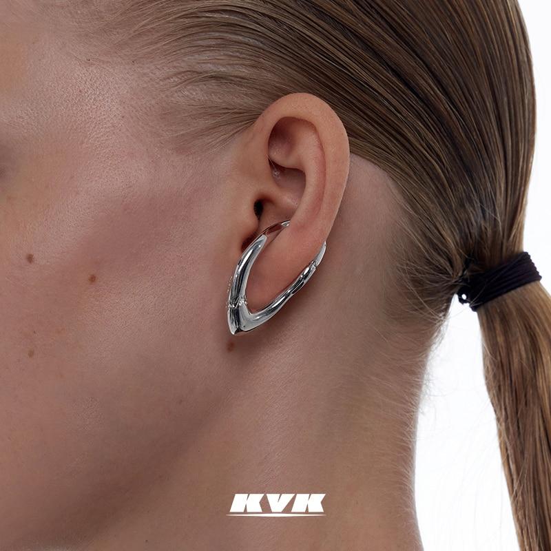 KVK Earrings 2021 New Tide Ear Clips No Earholes Female Advanced Ear Bone Clips Retro Earrings Female Simple Jewelry