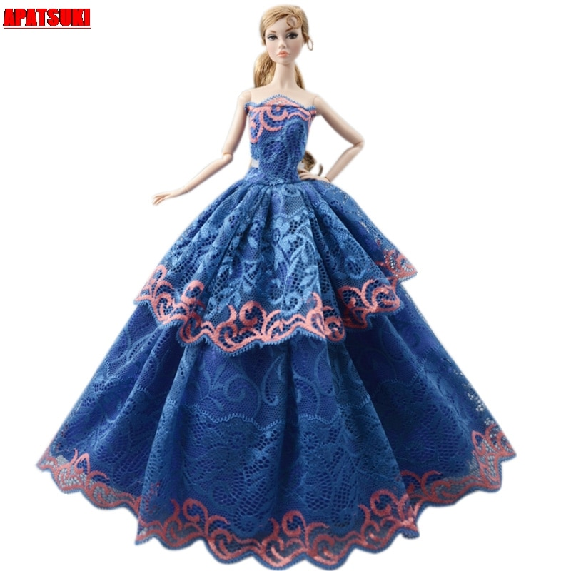 Blue Lace Fashion Doll Clothes For Barbie Doll Outfits Wedding Dress Princess Noble Party Gown For 1/6 BJD Dolls Accessories