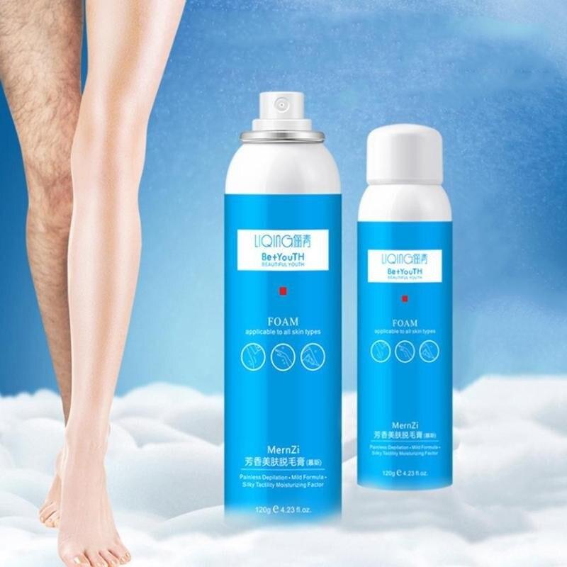 Creme hidratante da espuma da remoção do creme do mestre do corpo da pele lisa da cera depilatória do pulverizador da remoção do cabelo 120ml