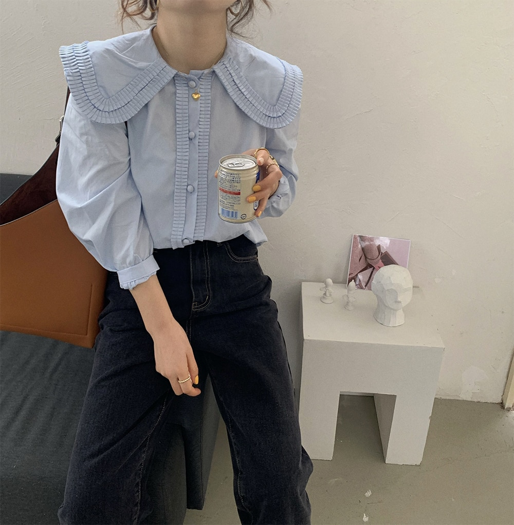 Hfd4ce632613645d582fb955bbe81c5faD - Spring / Autumn Frilled Big Lapel Collar Long Sleeves Solid Blouse