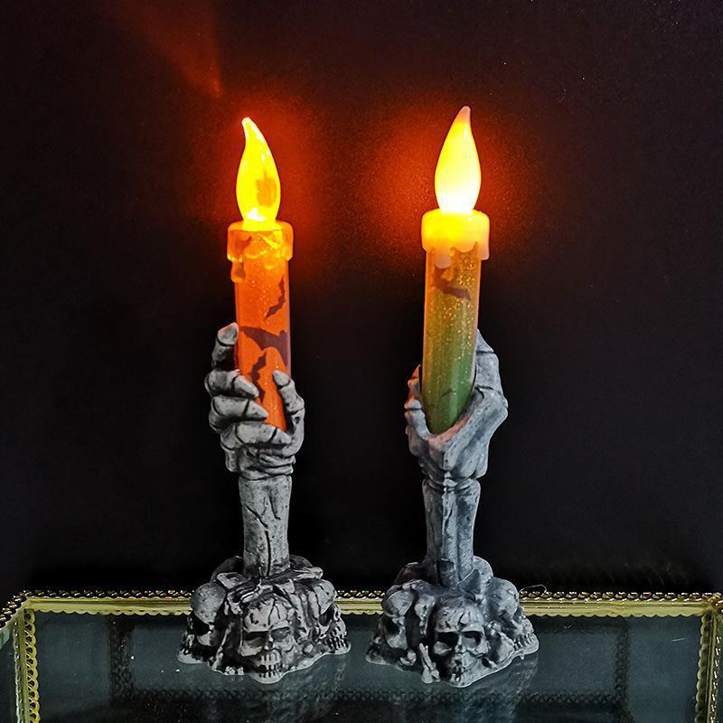 Vela electrónica de mano fantasma, esqueleto, LED, sin llama, decoración de Halloween
