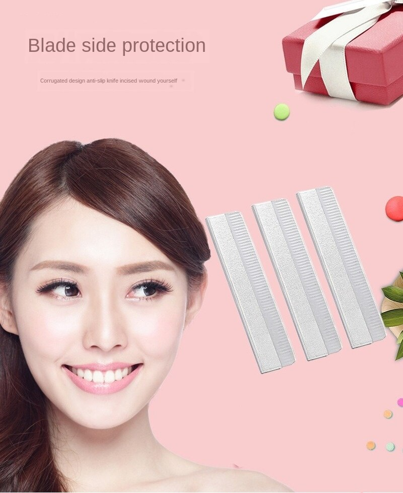 10Pcs Eye-Brow Knife-Piece Stainless Steel Eyebrow Scraper Corrugated Blade Disposable Eye-Brow Knif