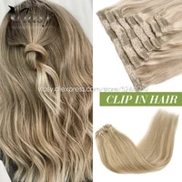 vlasy 16 24 7pcsset full head machine remy clip in hair extensions silky straight natural double weft lace clips on hair