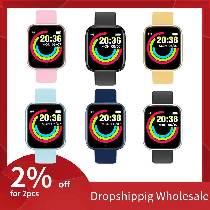 Детские часы Y68, умные часы с монитором кровяного давления, умные часы D20, водонепроницаемые спортивные умные часы, часы для Android, IOS