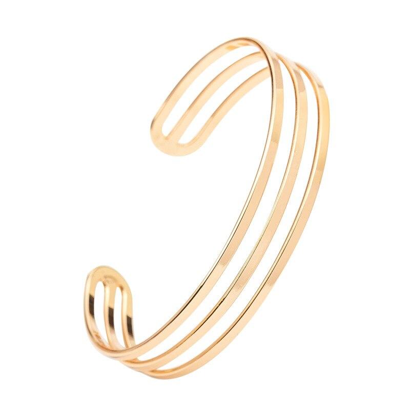 Joyería de moda para mujer, brazaletes con apertura de 3 capas de Oro Negro plateado