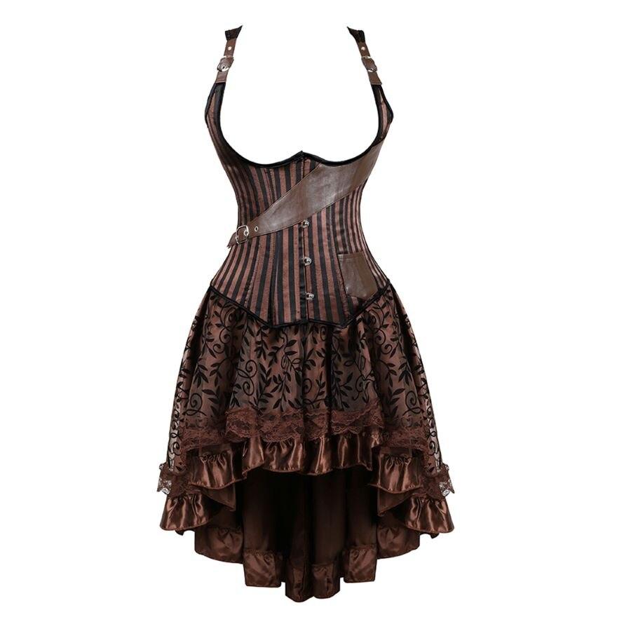 مشد Steampunk للسيدات ، فستان قوطي مثير ، مخطط ، تحت الصدر ، سترة ، تمثال نصفي علوي مع تنورة دانتيل غير متناظرة ، مجموعة بنية