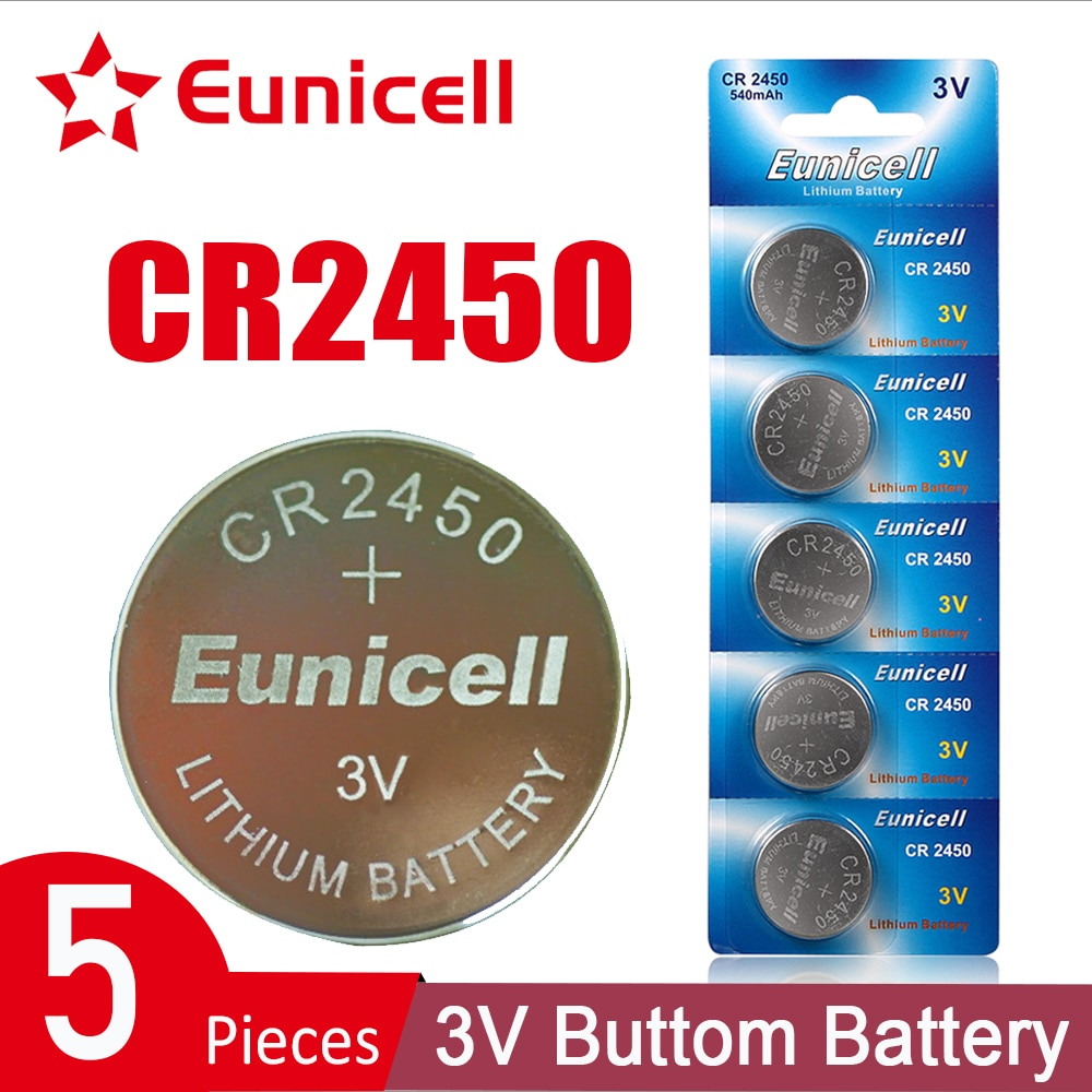 Eunicell 5PCS 3V CR2450 Button Batteries 5029LC LM2450 DL2450 CR2450N BR2450 Lithium Cell Coin Battery For Watch Electronic Toy