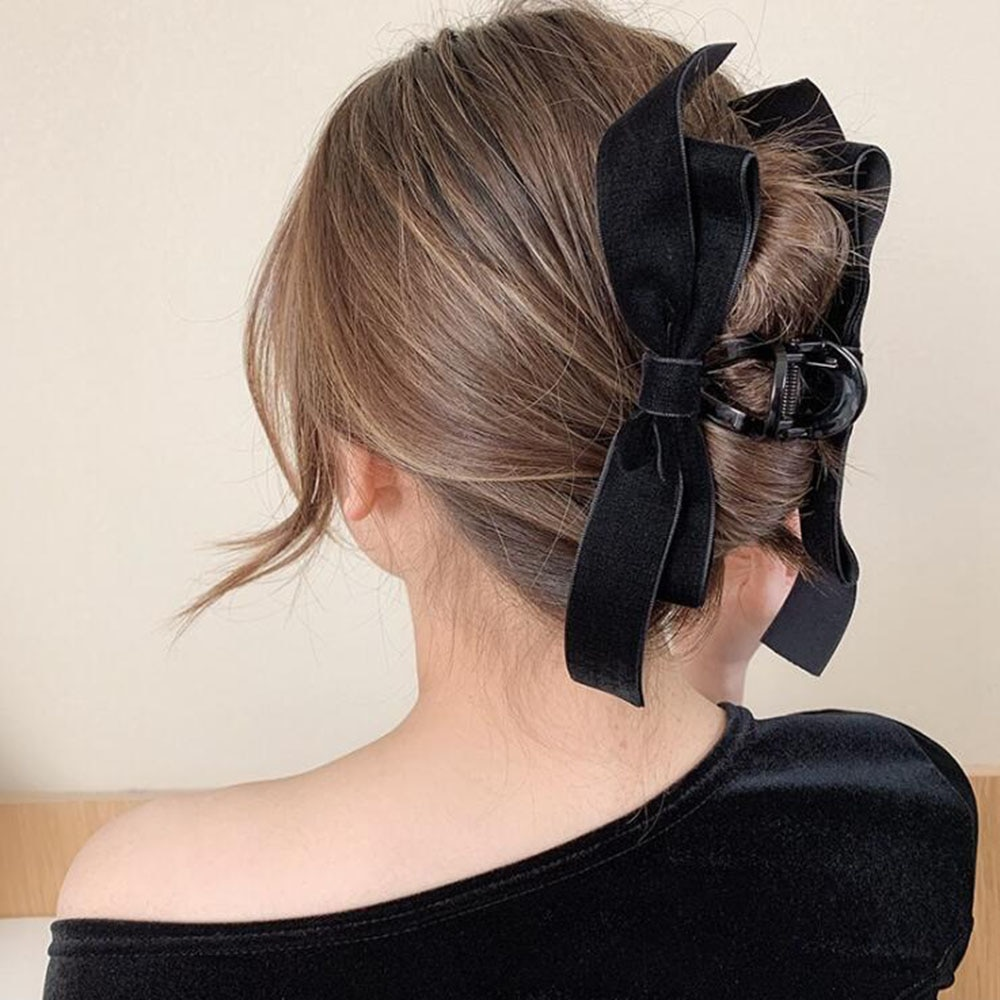 New Elegant Bow Hair Claws For Women Girls Large Grab Clips Shark Clip Headdress Hairpin Hairstyle M