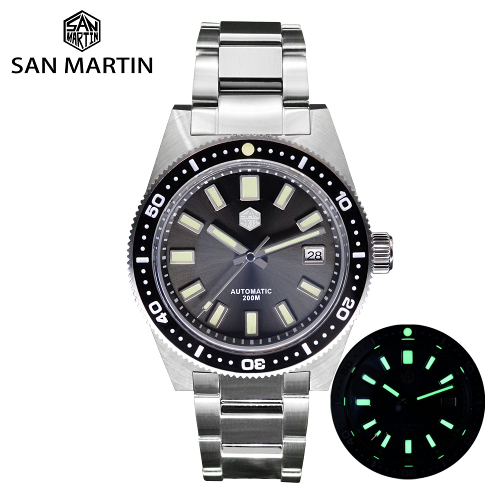 San Martin 62mas V4 40mm Diver Mens Watch Sapphire Glass Applied Logo NH35 Automatic Mechanical Watc