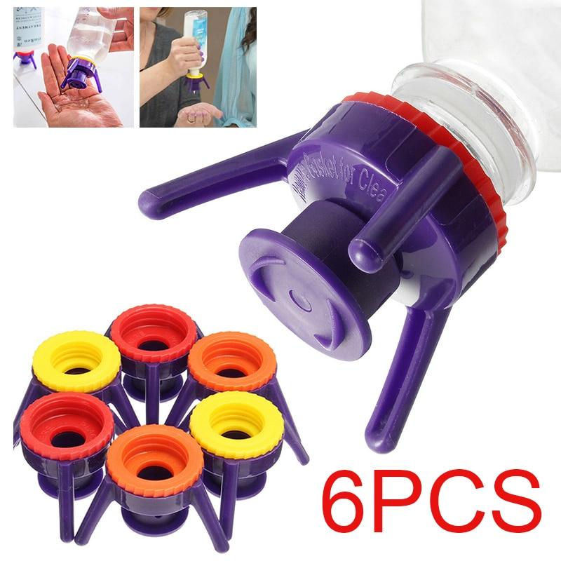 6 uds 4 tamaños Flip tirar botella de soporte de tapa a prueba de fugas tapa-Tapas Kit para cocina aromas botella de baño titular champú