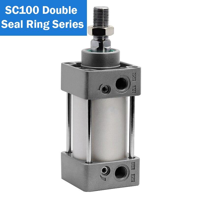 SC100X25-S SC100X1000-S cilindro neumático 100mm diámetro 25mm a 1000mm carrera doble acción cilindro de aire estándar anillo de doble sello